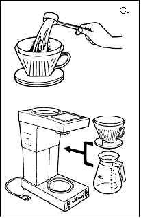 ドリッパー内のコーヒー粉の上面は平らにしてサーバーにセット